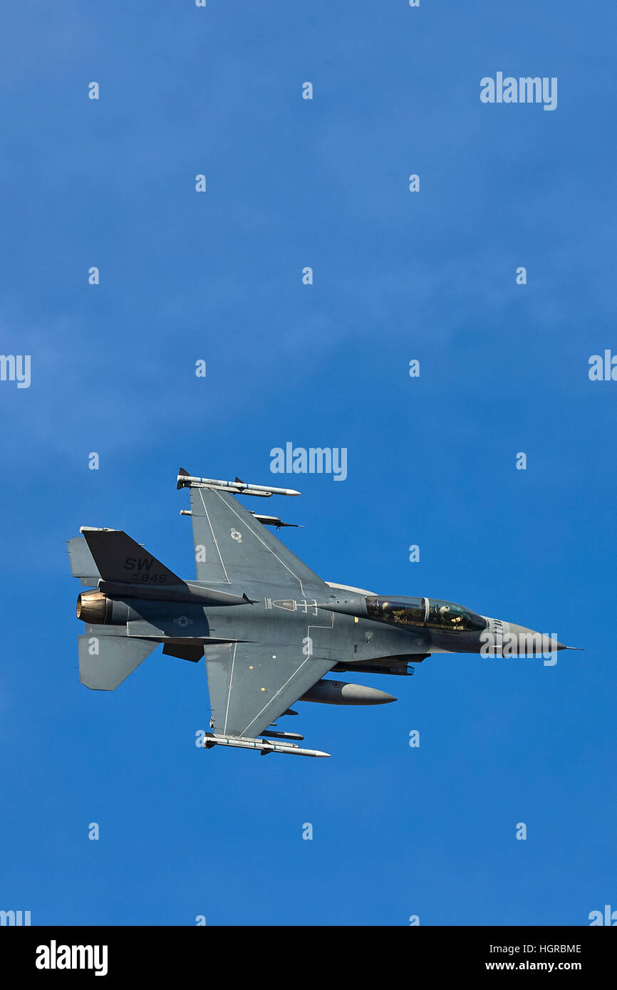 United States Air Force F-16D, Fighting Falcon, Banking Over California. - Stock Image