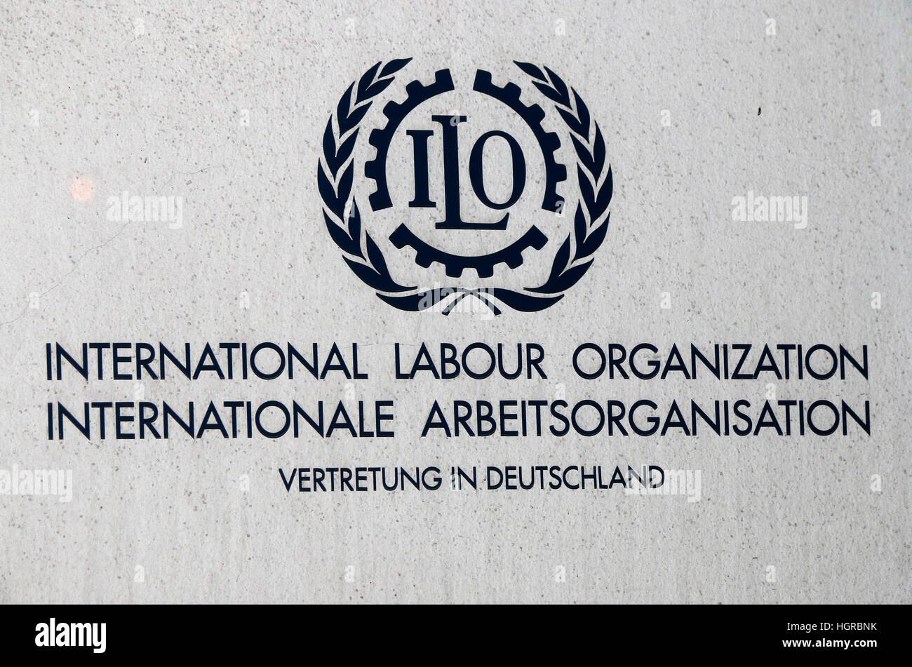 das Logo der Marke 'ILO International Labour Organization', Berlin. - Stock Image