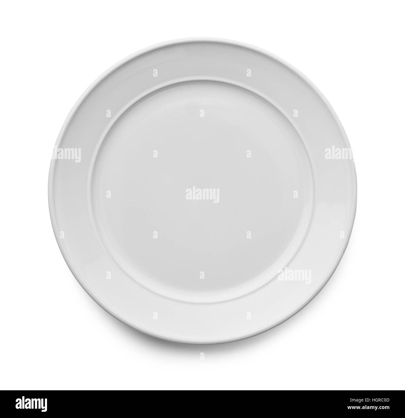 Blank White Ceramic Plate Isolated on White Background. - Stock Image