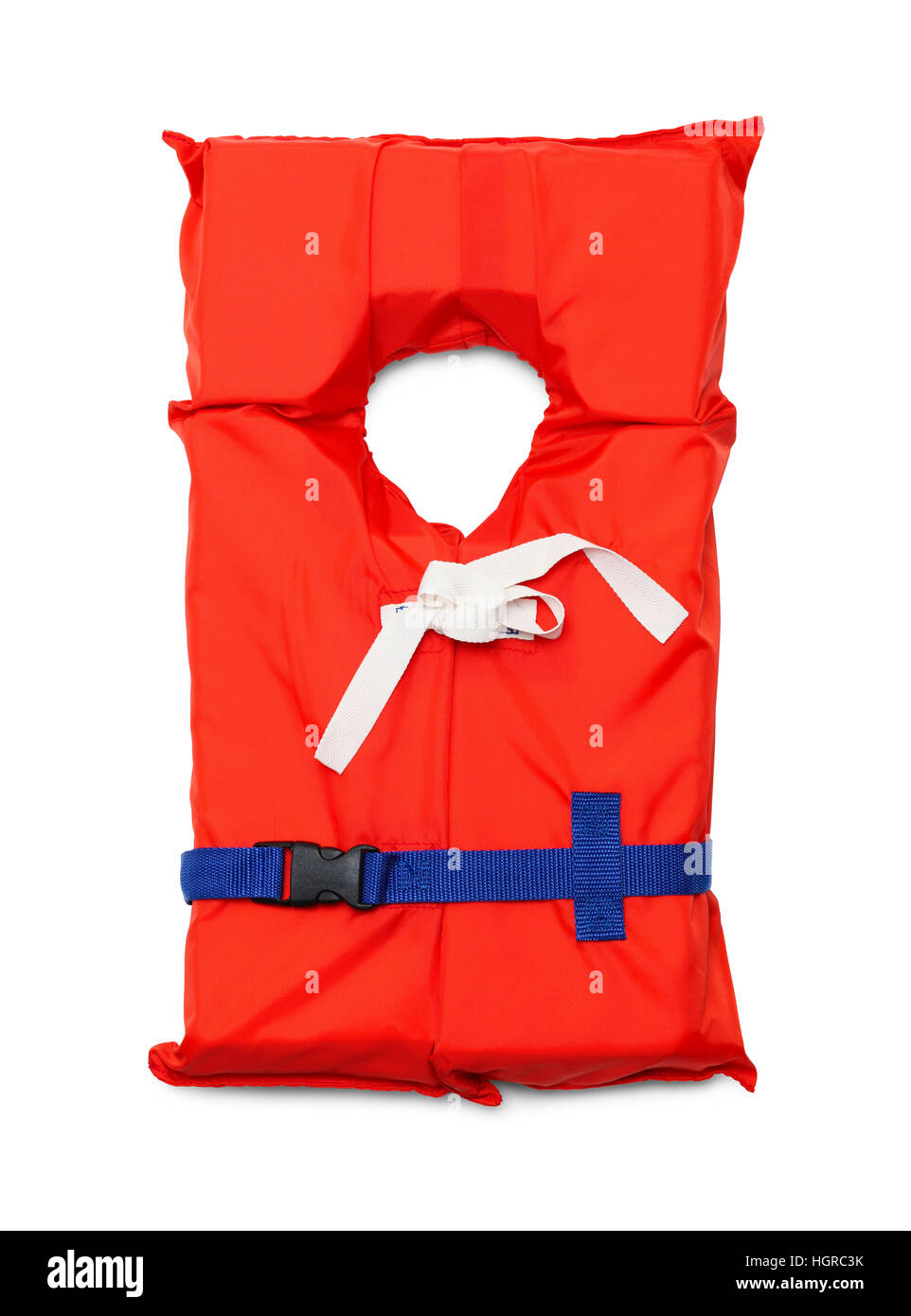 Orange Life Jacket with Belt Isolated on White Background. - Stock Image