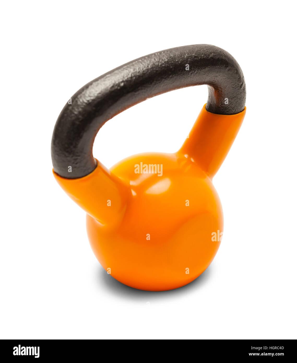 Orange Kettlebell Exercise Hand Weight Isolated on White Background. - Stock Image