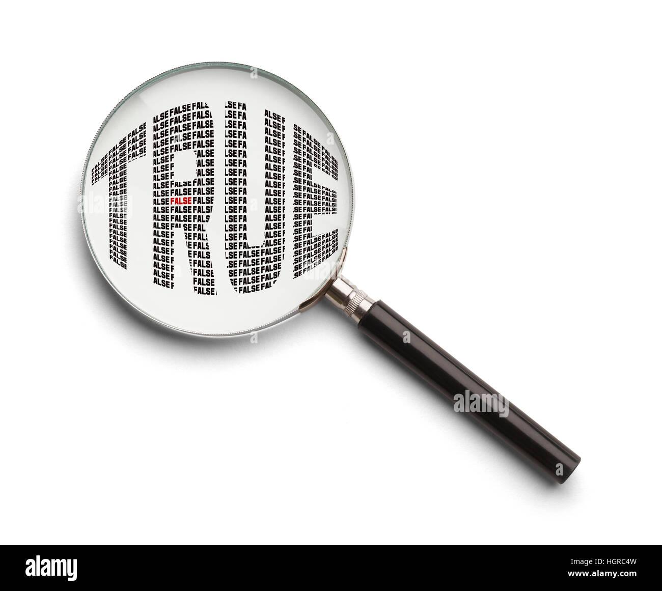 True or False Fine Print Examination Isolated on White Background. - Stock Image