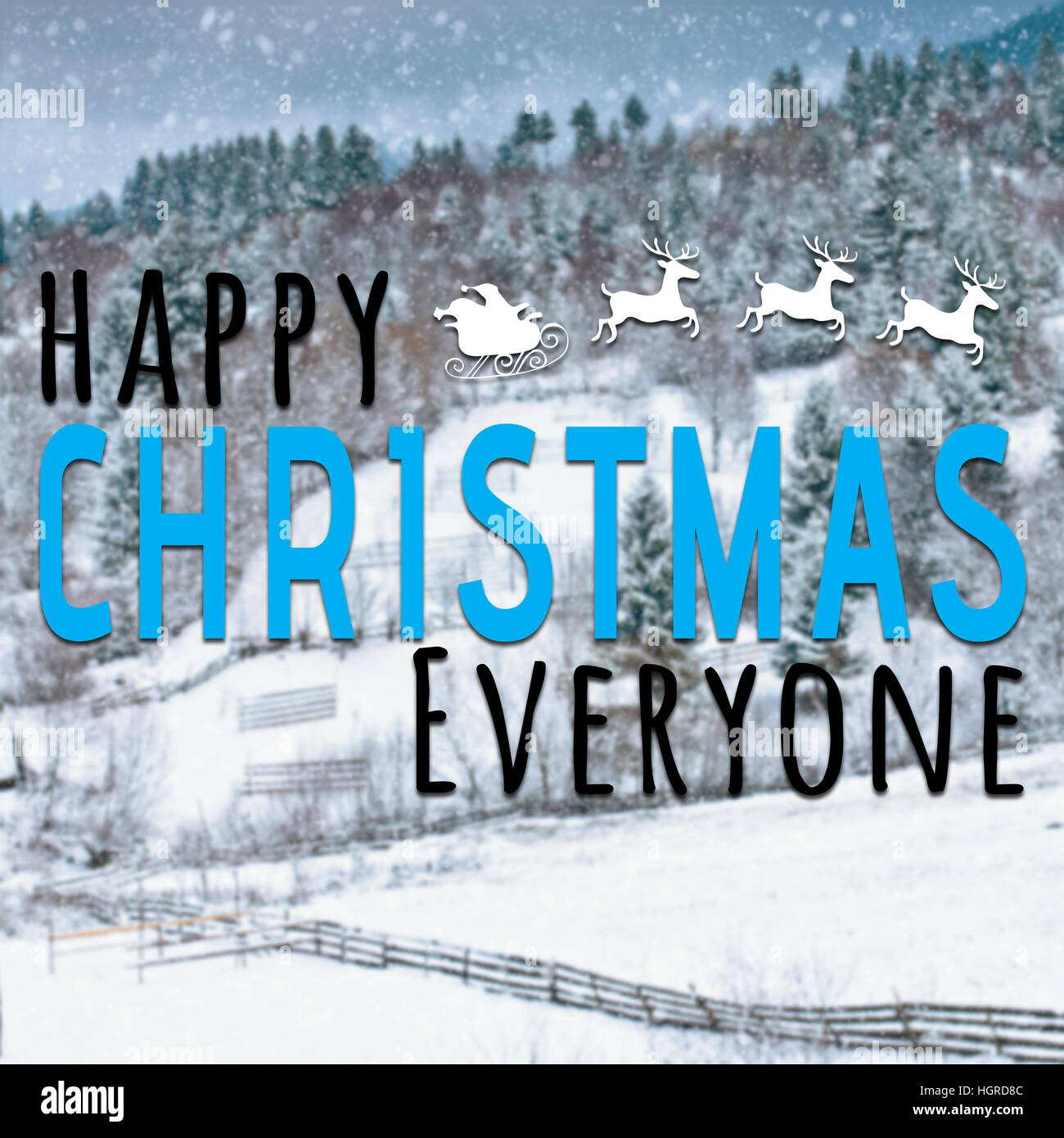 Happy christmas everyone inspirational quote on snow background with holiday symbol - Stock Image