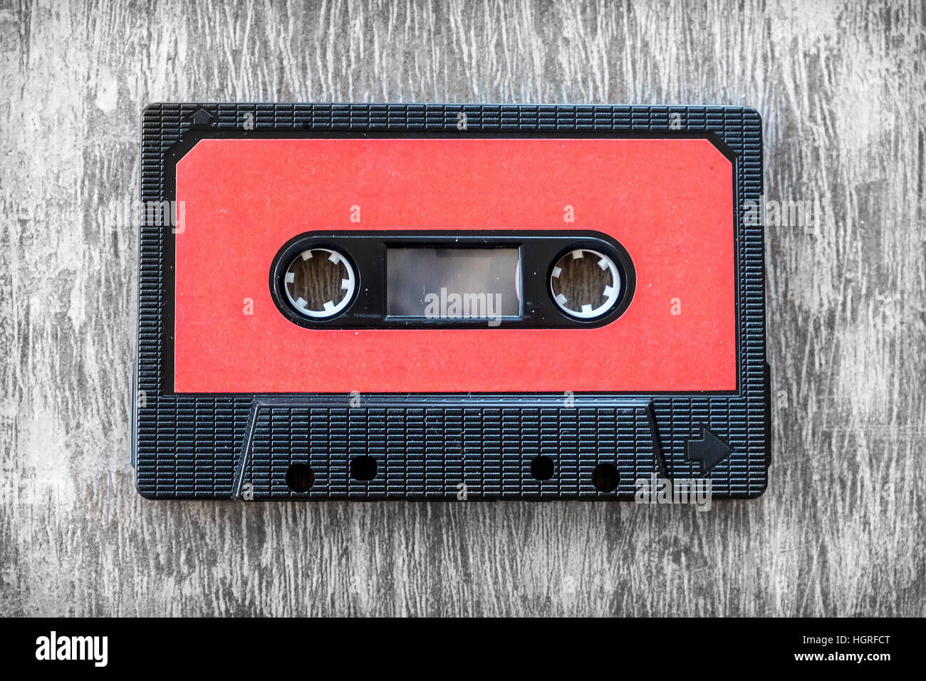 red audio tape wood background vintage - Stock Image