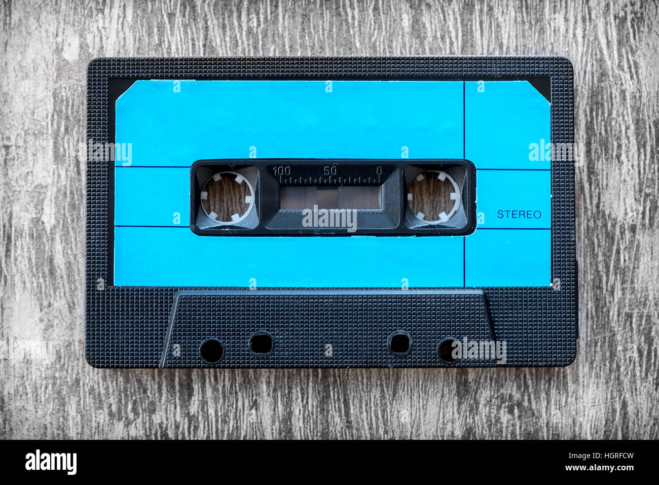 blue audio tape wood background vintage - Stock Image