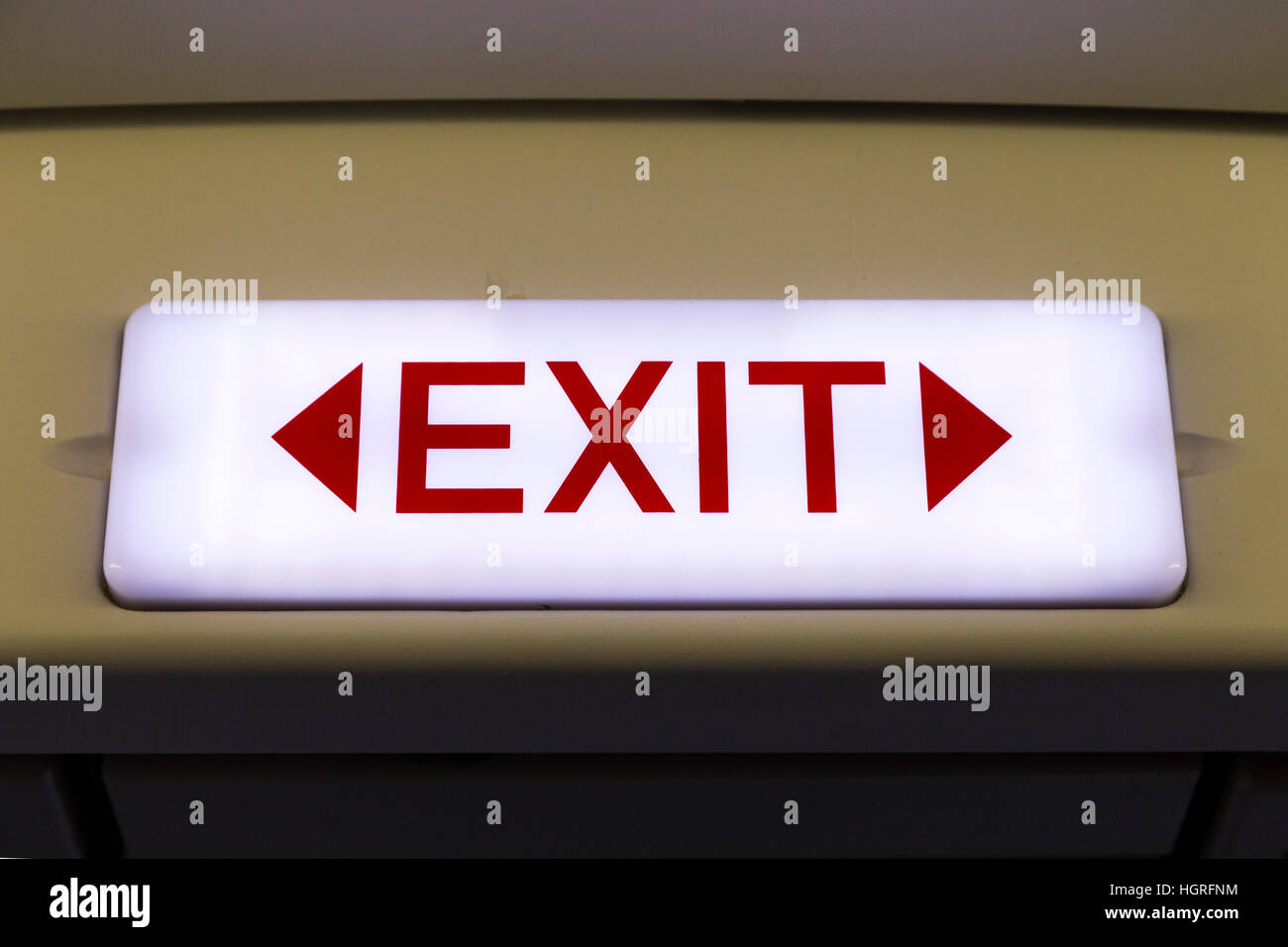 EXIT door sign on an Airbus A320 airplane Air plane aeroplane aircraft - Stock Image