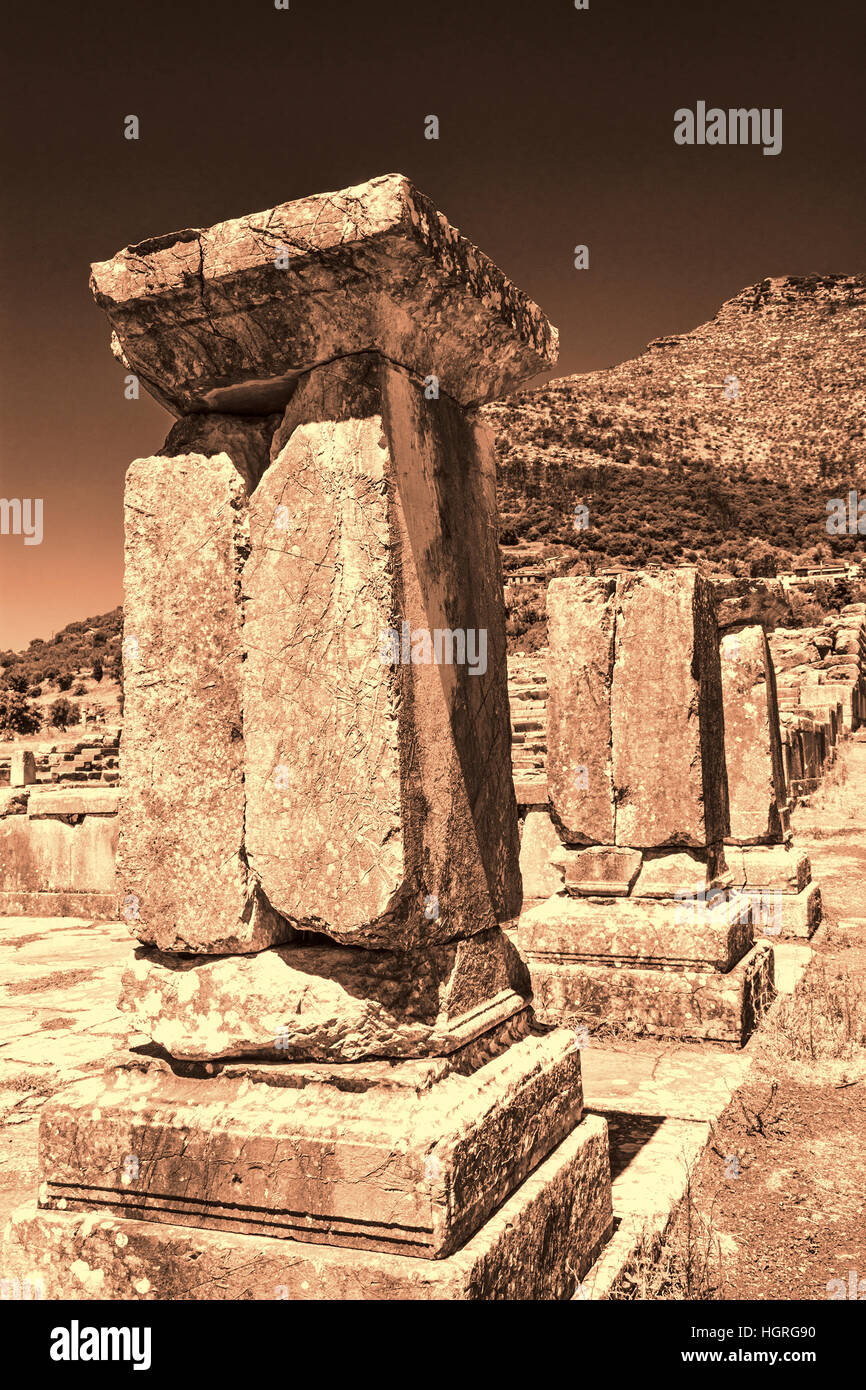 Pillar ruins at Ancient Messini, Messinia at Peloponnese, Greece - Stock Image