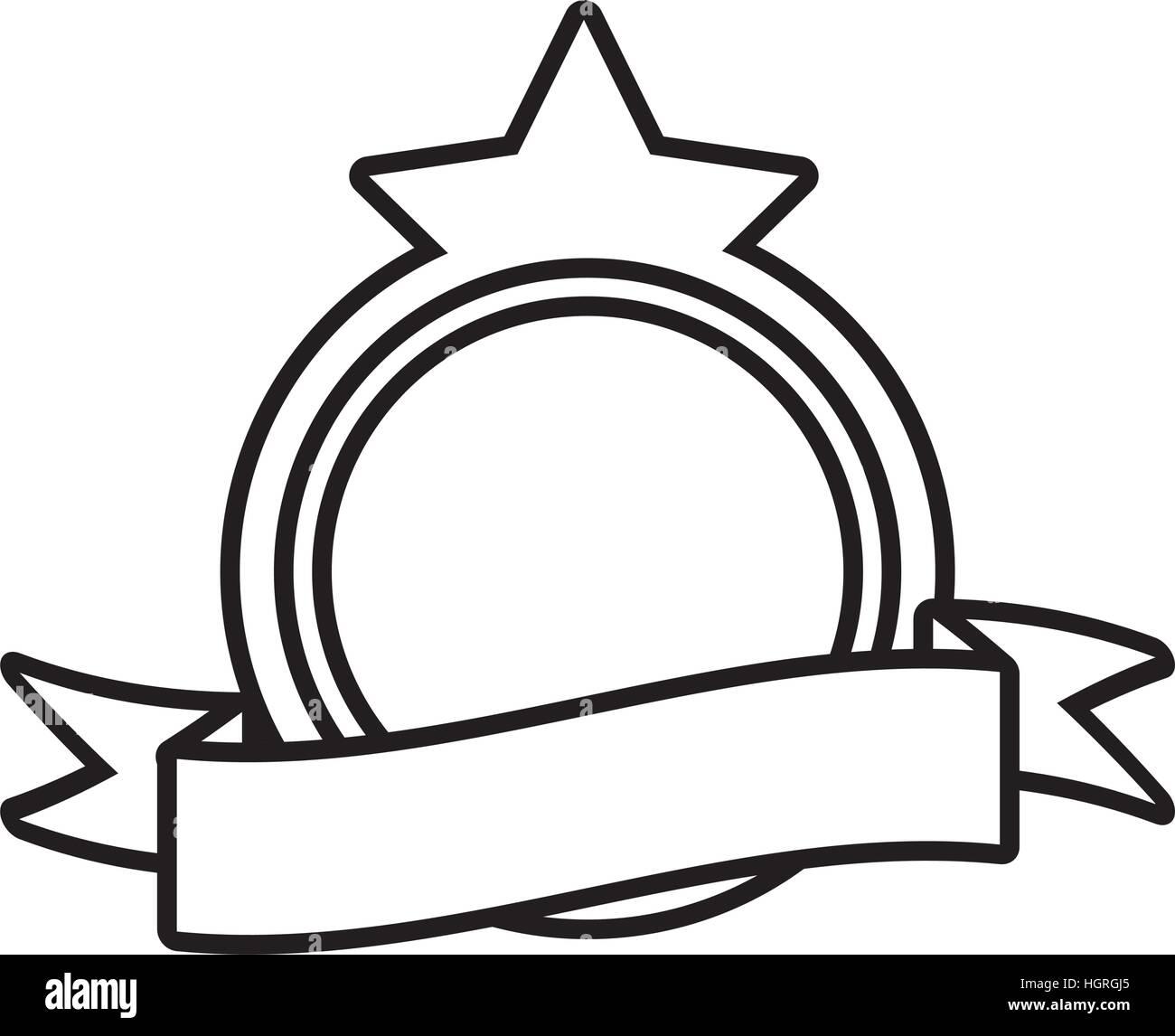 shield decorative star frame outline empty vector illustration eps ...