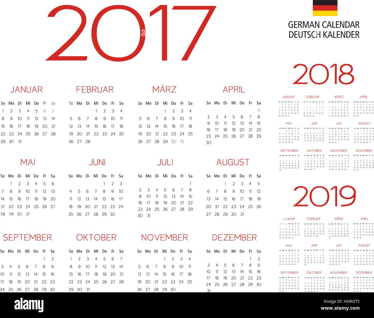 german calendar template 2017 2018 2019 vector text is outline