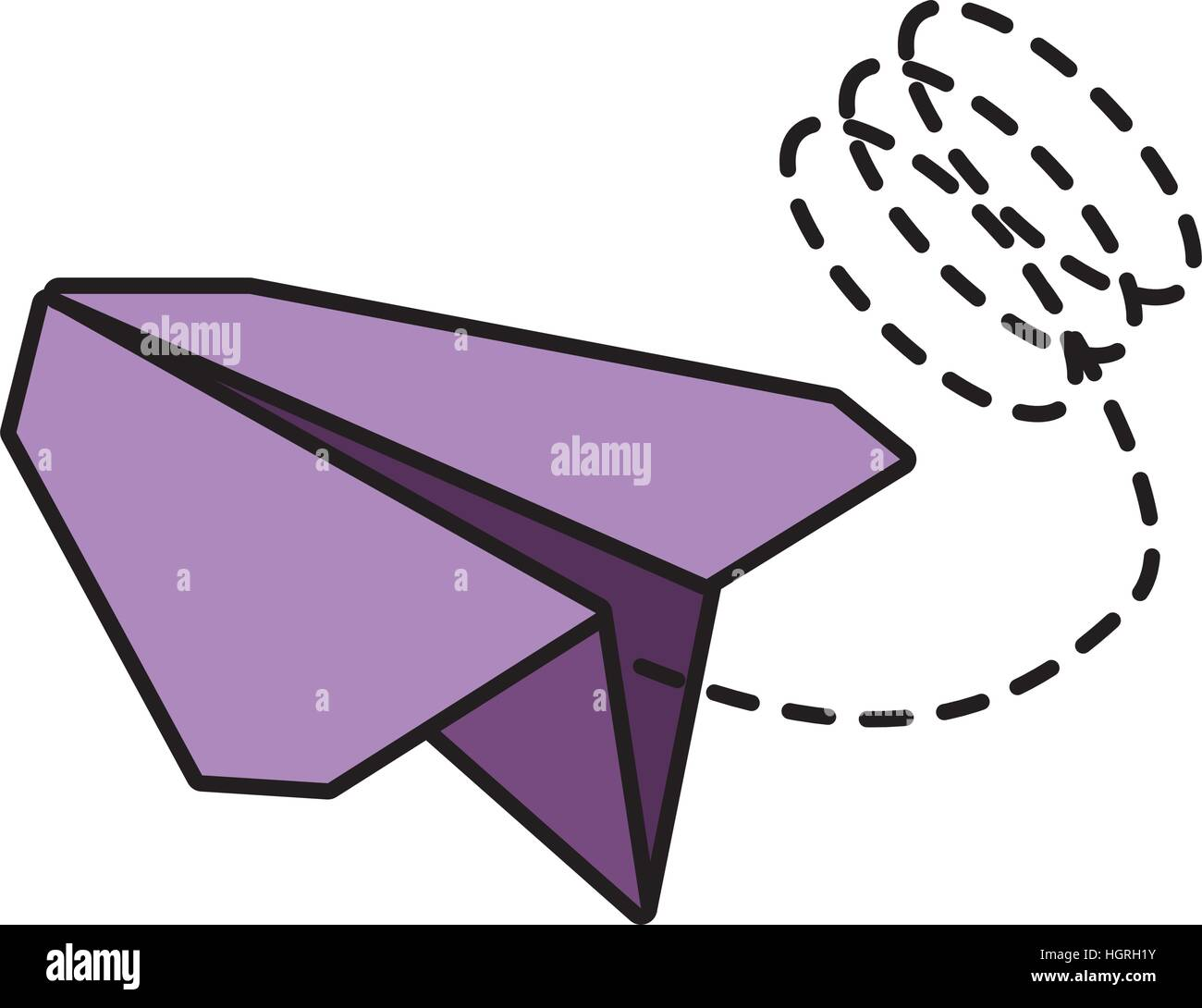 paper plane toy entertain line dotted vector illustration eps 10 - Stock Vector