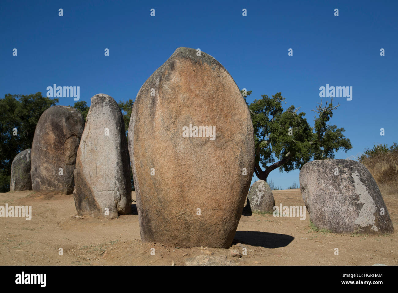 Megalithic Stone-circles, 5000 to 4000 BC, Almendres Cromlech, near Evora, Portugal Stock Photo