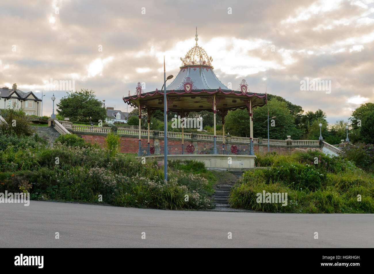 The Bandstand, located in South Marine Park, South Shields. A replica of the original created by Macfarlanes of - Stock Image