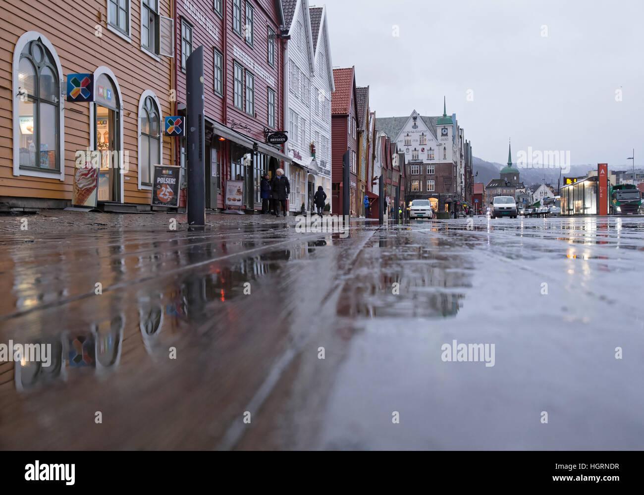 Bergen, Norway. 12th January, 2017. Norwegian weather: UNESCO World Heritage Site Bryggen, German Warf escaped a Stock Photo