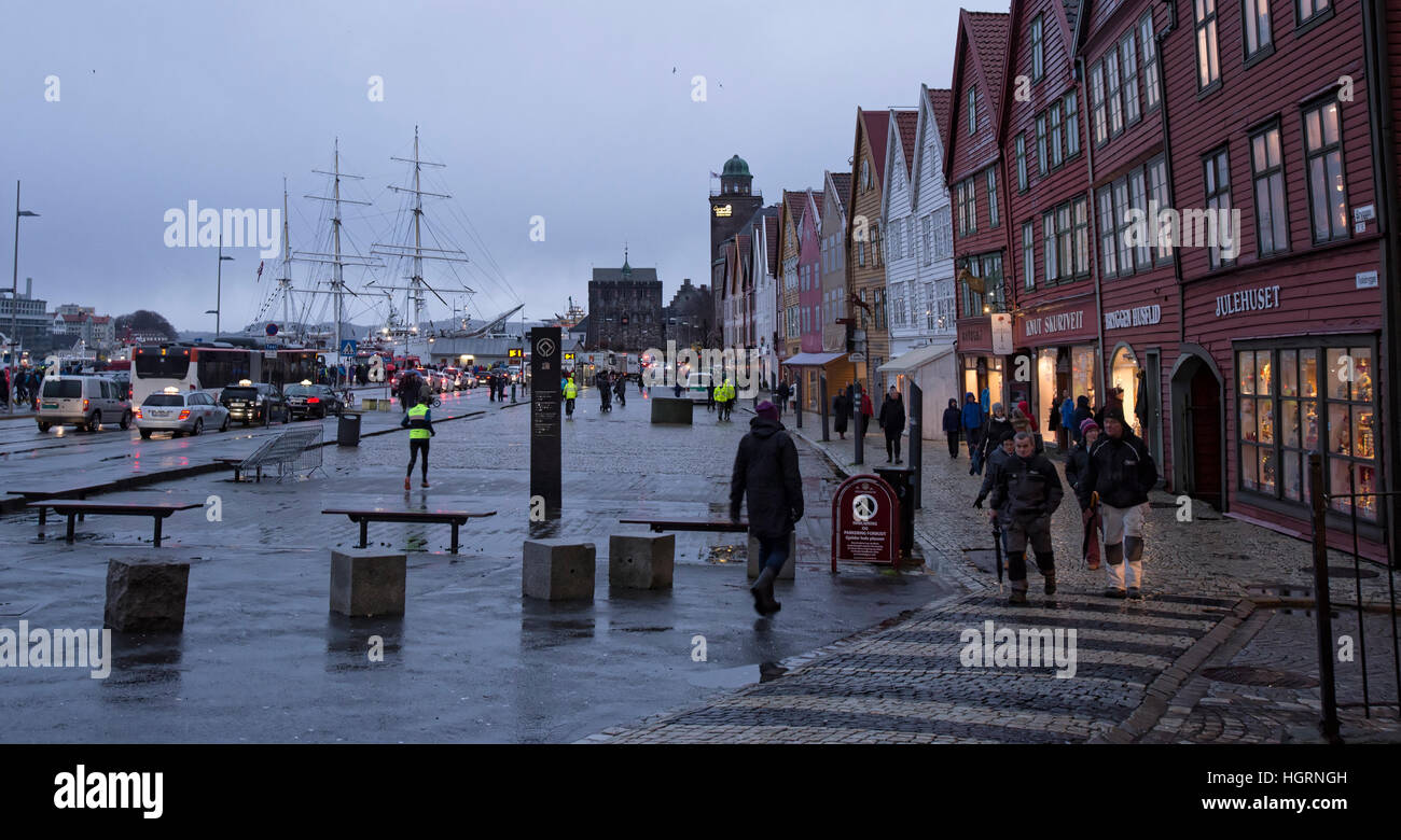 Bergen, Norway. 12th January, 2017. Norwegian weather: UNESCO World Heritage Site Bryggen, German Warf escaped a Stock Photo