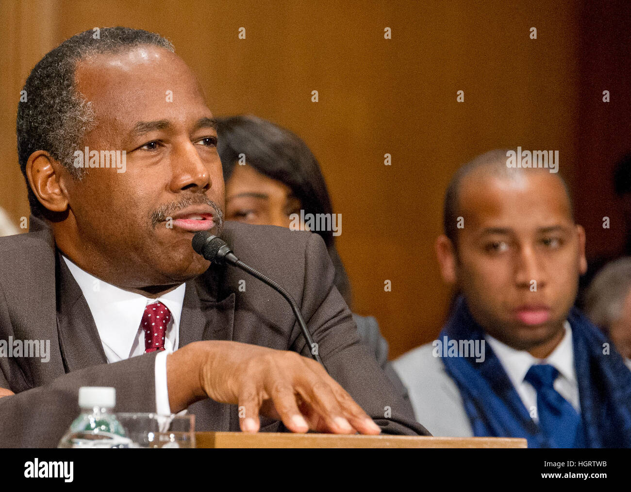 Dr. Benjamin Carson testifies before the United States Senate Committee on Banking, Housing, and Urban Affairs during Stock Photo