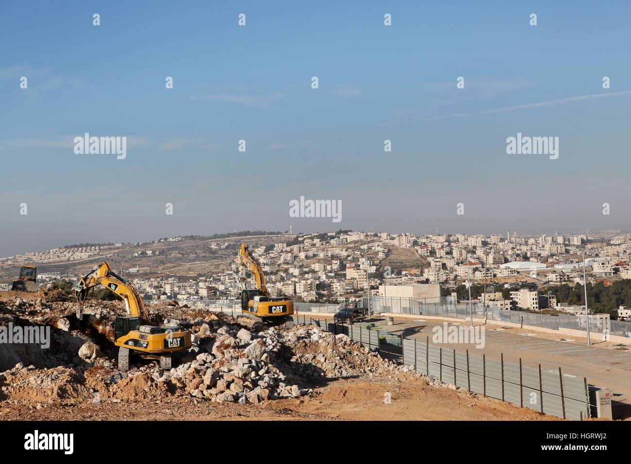 Efrat, Isreal. 12th Jan, 2017. The construction site of new housing units in the Jewish settlement of Efrat near - Stock Image