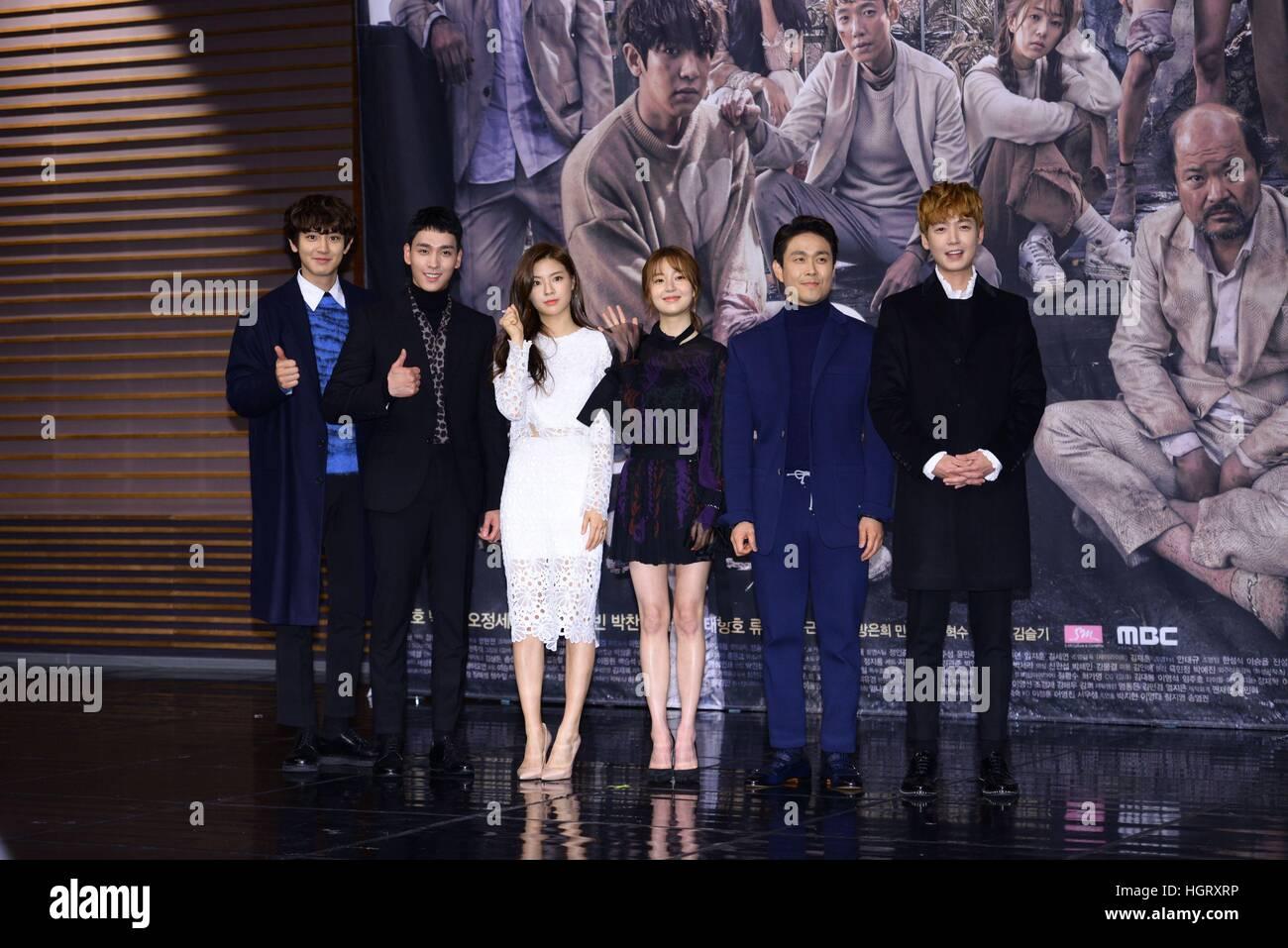 Seoul, Korea  12th Jan, 2017  Chanyeol, Tae-jun Choe, Jin