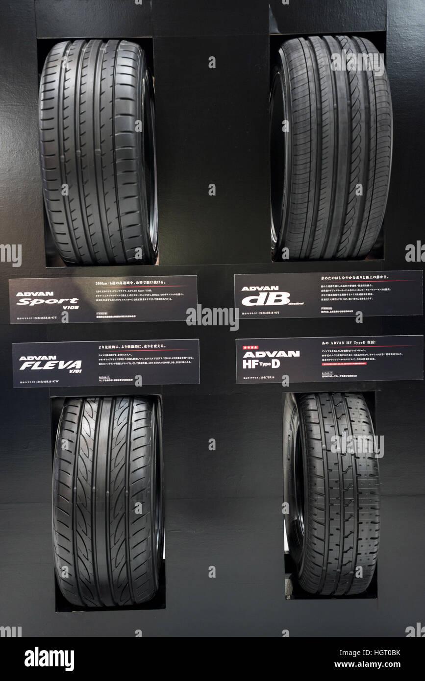Tokyo, Japan. 13th Jan, 2017. The New YOKOHAMA ADVAN tires on display at Tokyo Auto Salon 2017. Tokyo Auto Salon - Stock Image