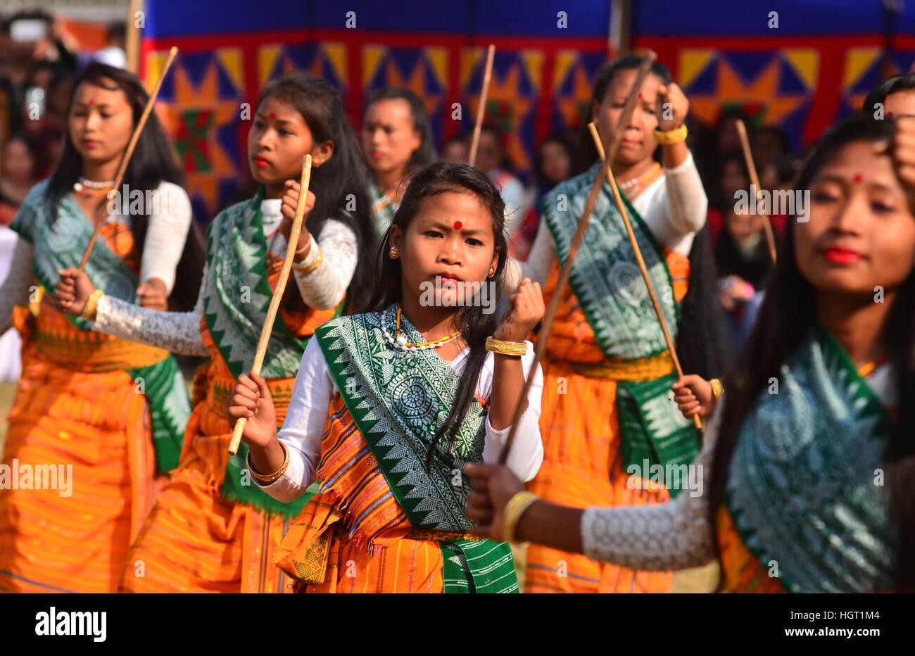 Dimapur, India, 13th January 2017. Indian tribal Kachari performs a cultural dance during the Aai Sagi festival, - Stock Image