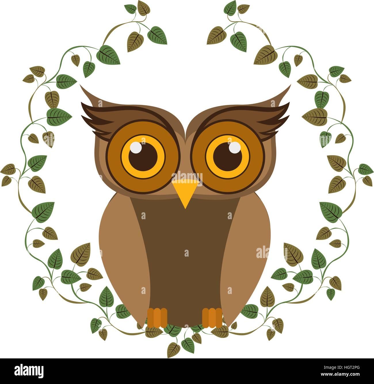 owl cartoon icon bird animal and nature theme isolated design