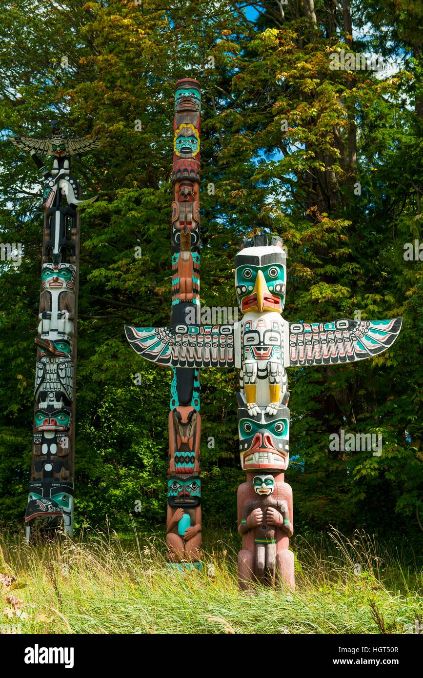 Native American totem poles, First Nations, Stanley Park, Vancouver, British Columbia, Canada - Stock Image