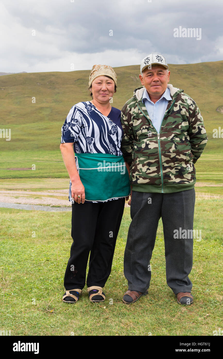 Couple of Kazakh nomads, Ile-Alatau National Park, Assy Plateau, Almaty, Kazakhstan, Central Asia, Editorial Use - Stock Image