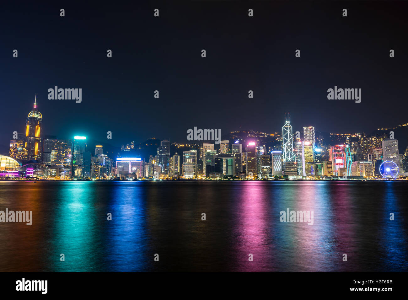 Nightview of Victoria Harbour in Hong Kong. (Hong Kong Island side view from Tsim Sha Tsui) Stock Photo