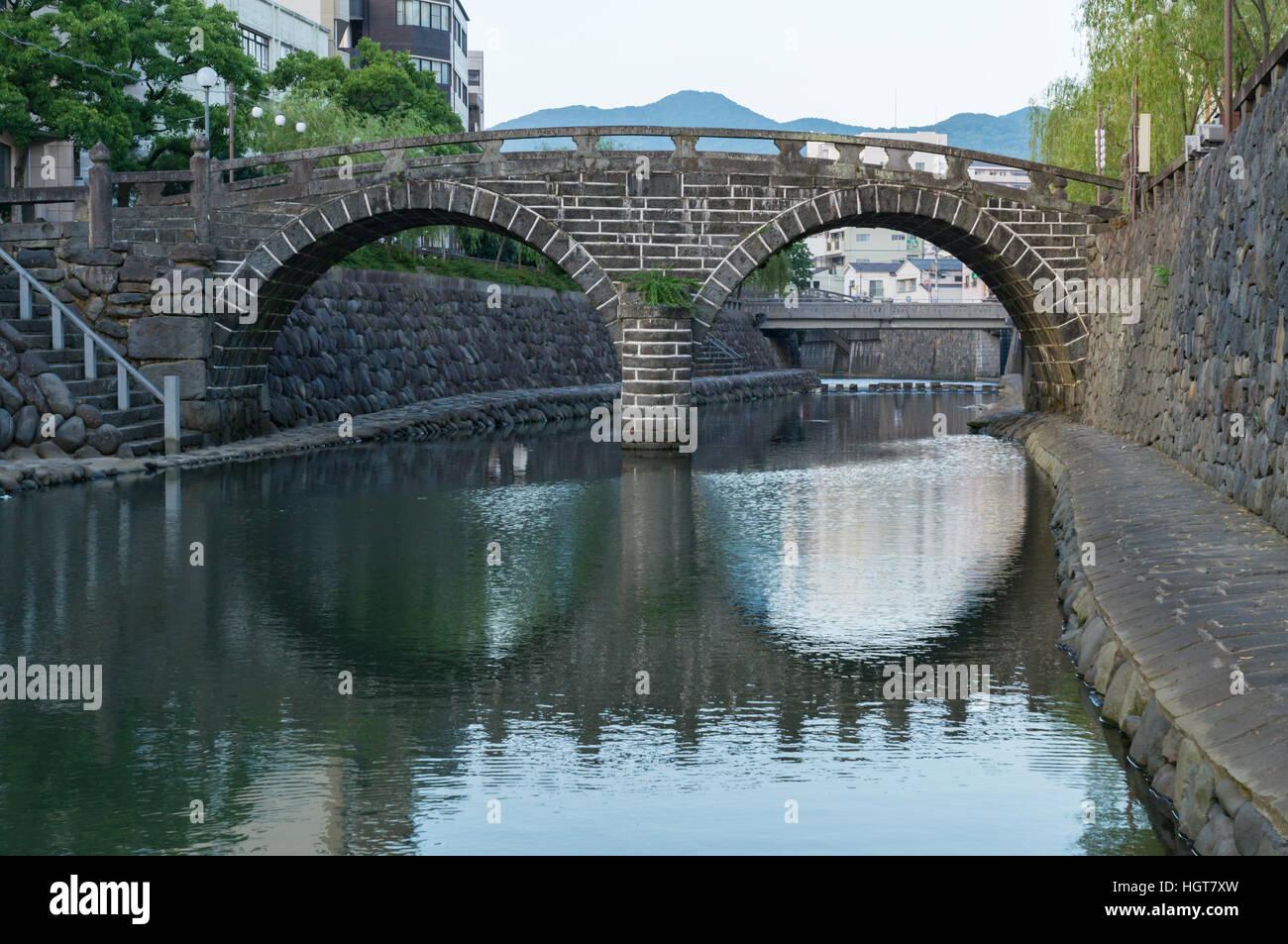 Meganebashi (Spectacles Bridge) in Nagasaki, Japan. - Stock Image