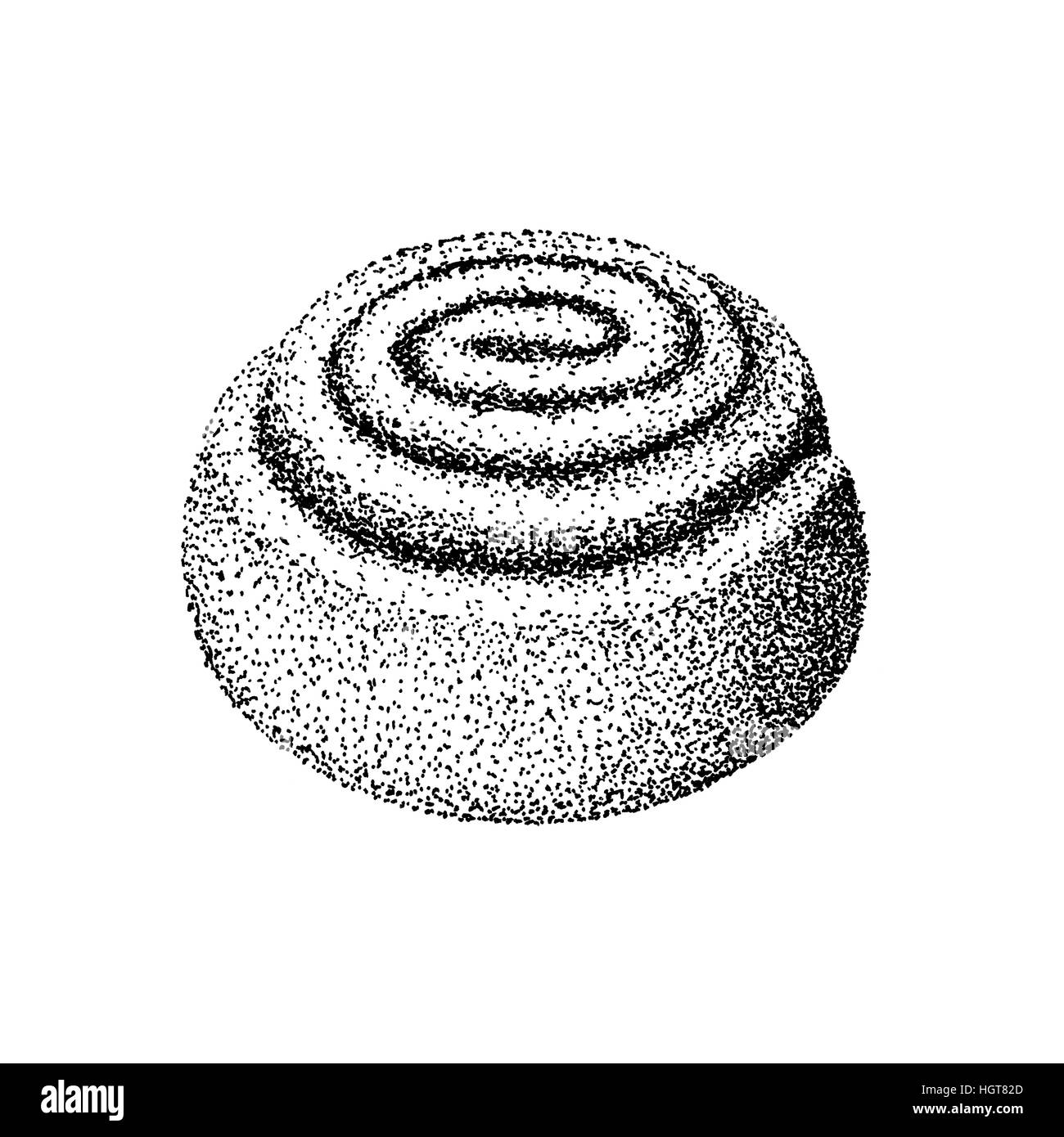 Cinnamon swirl illustration old lithography style hand drawn - Stock Image