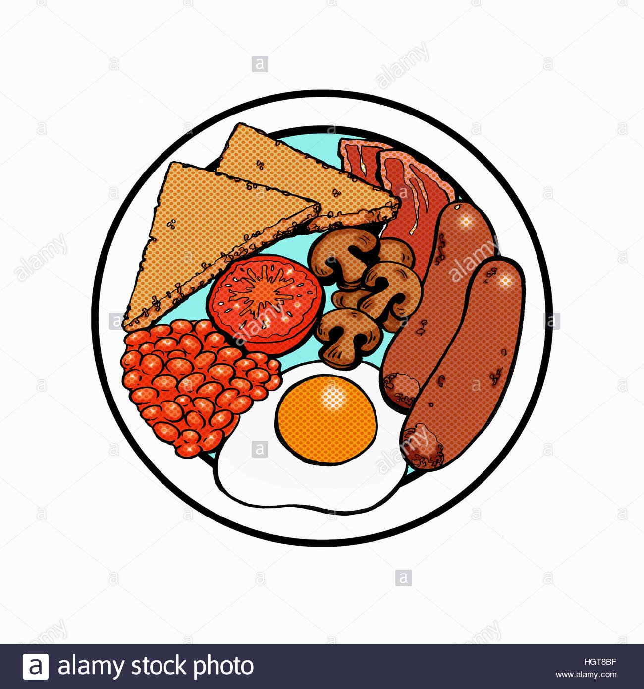 Overhead View Of Plate With Full English Breakfast Stock Photo