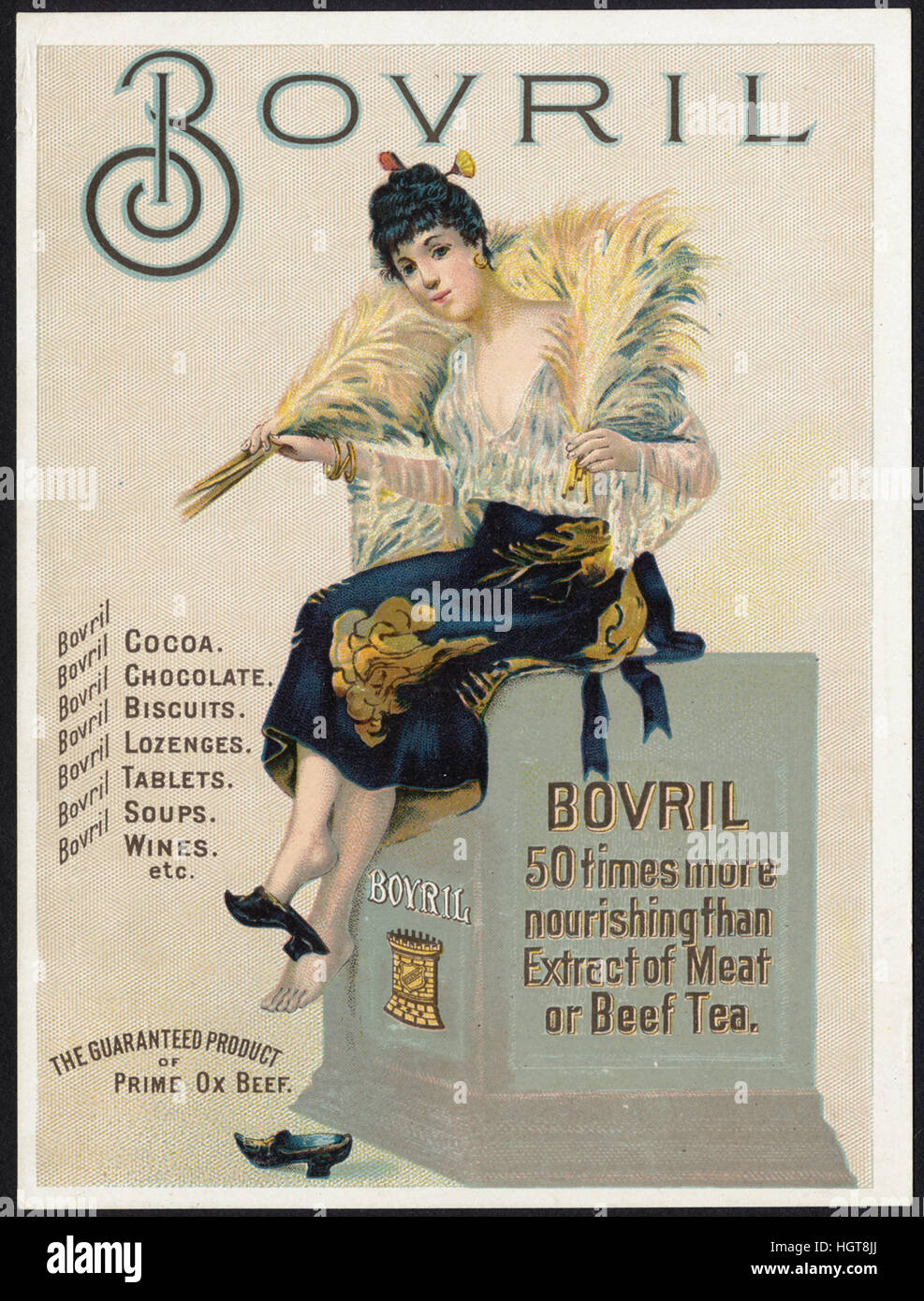 Bovril, 50 times more nourishing than extract of meat or beef tea. [front]  - Food Trade Card - Stock Image