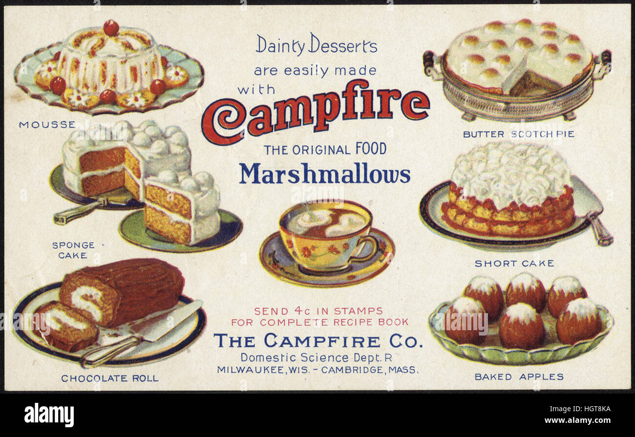 Dainty Desserts are easily made with Campfire Marshmallows, the original food [front]  - Food Trade Card - Stock Image