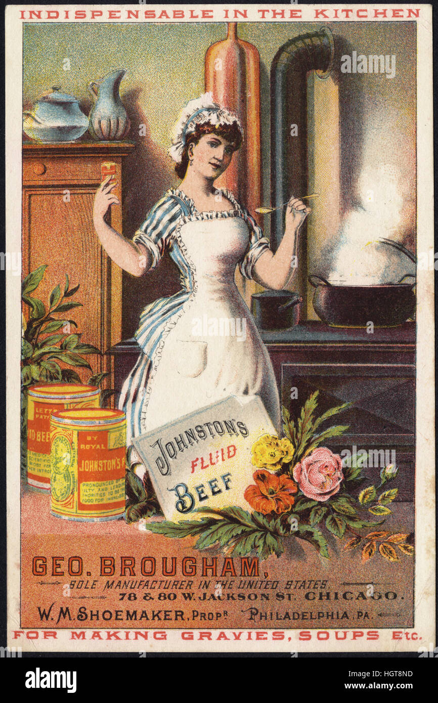 Johnston's Fluid Beef, indispensable in the kitchen for making gravies, soups, etc. [front]  - Food Trade Card - Stock Image