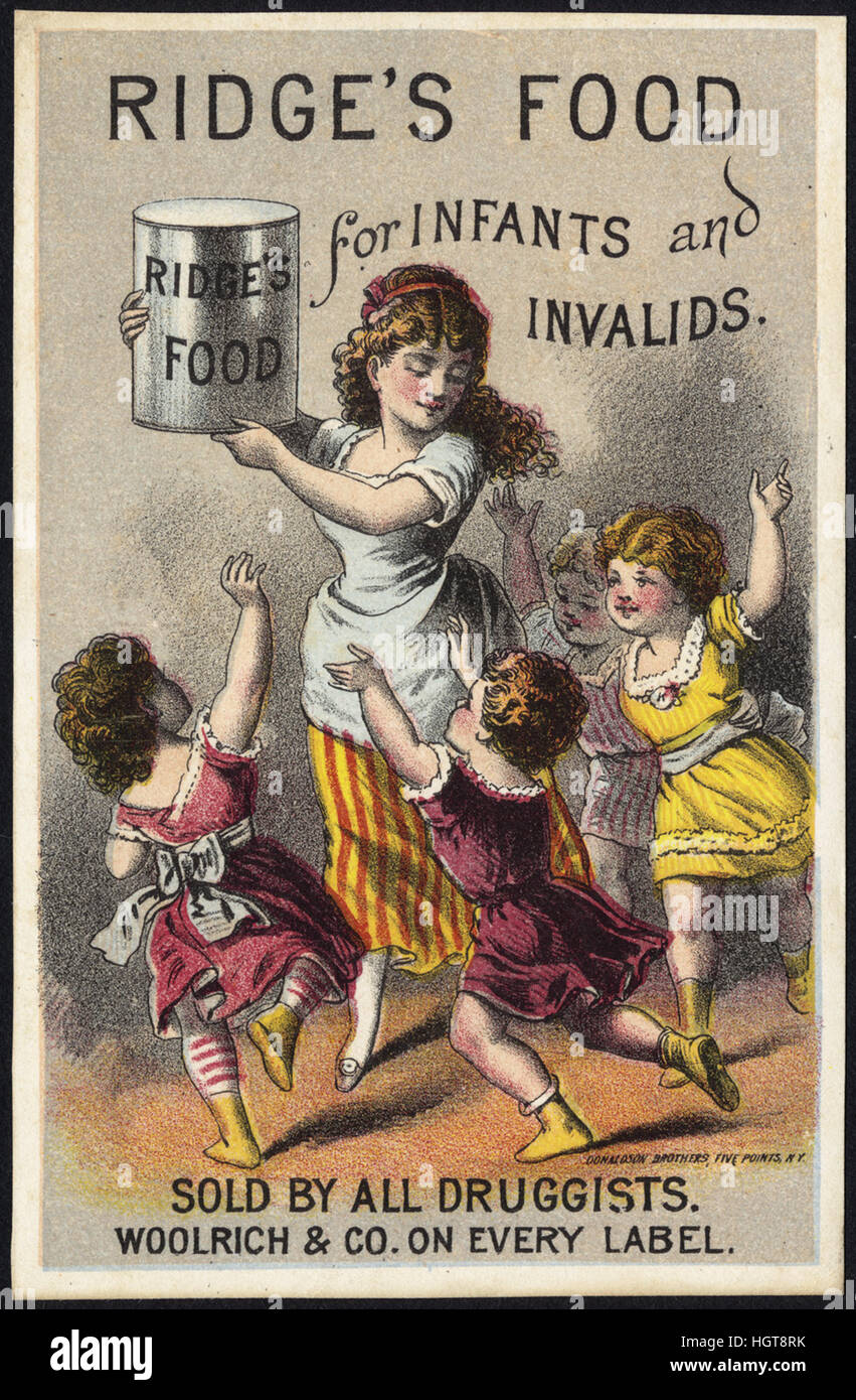Ridge's Food for infants and invalids [front] - Food Trade Card - Stock Image