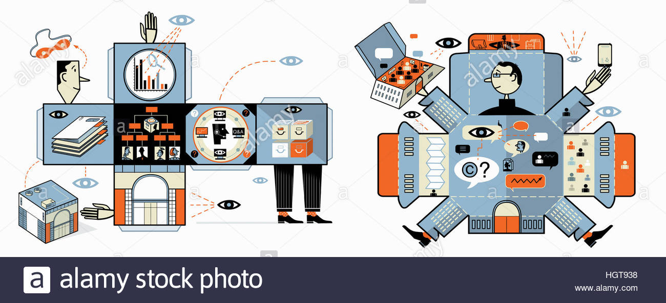 Managers of well organized businesses meeting as folded paper shapes - Stock Image