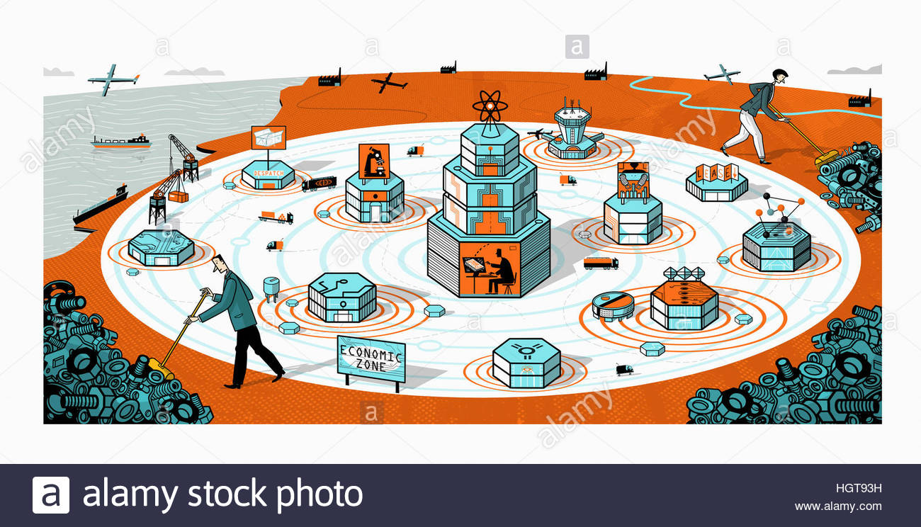 Businessman and businesswoman sweeping away old industry from new science and technology economic development zone - Stock Image