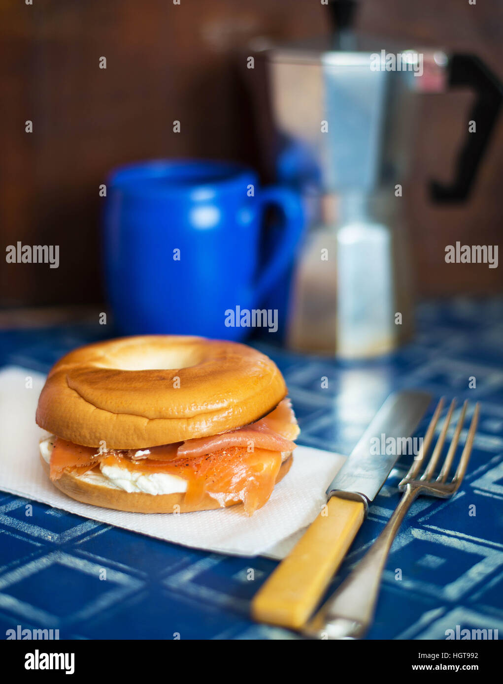 Smoked Salmon Bagel - Stock Image