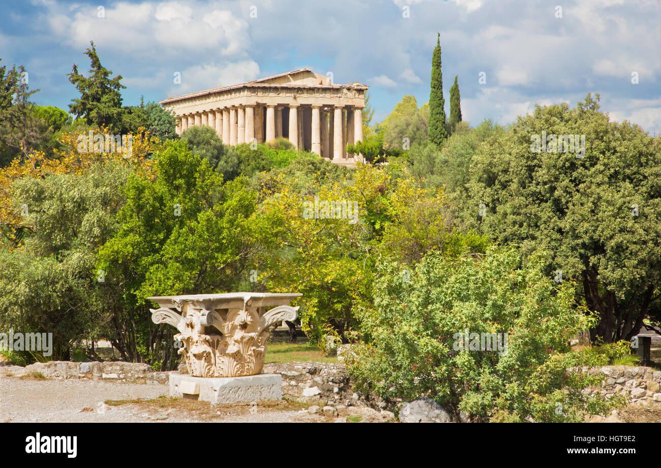 Athens - Temple of Hephaestus. - Stock Image
