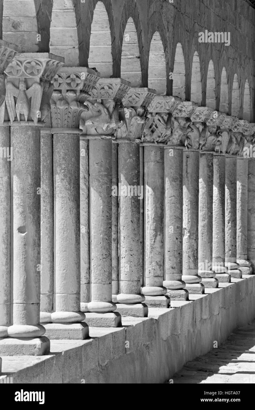 Segovia - The romanesque portico of church Iglesia de San Martin. - Stock Image