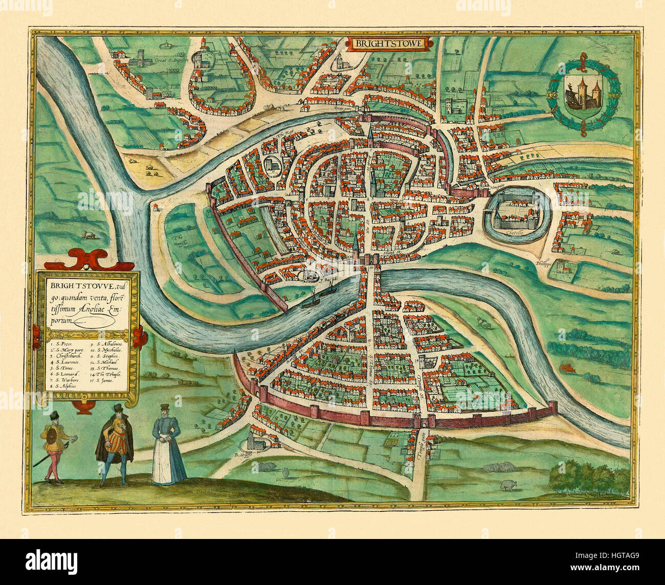 Map Of Bristol 1588 Stock Image