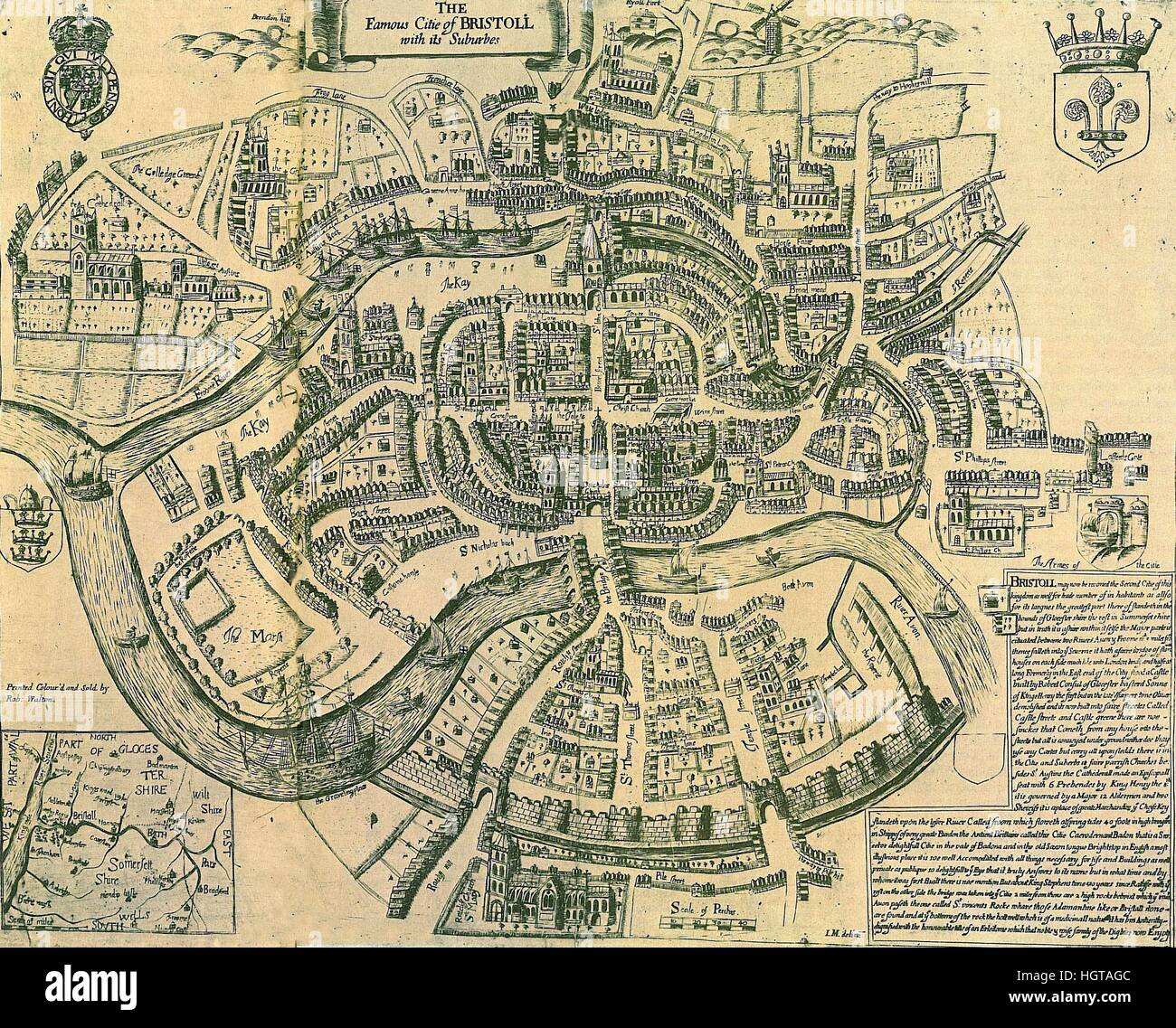 Map Of Bristol 1590 Stock Image