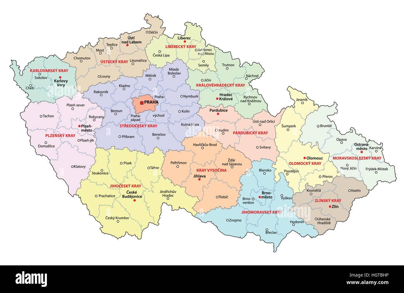 czech republic administrative and political map Stock Vector Art