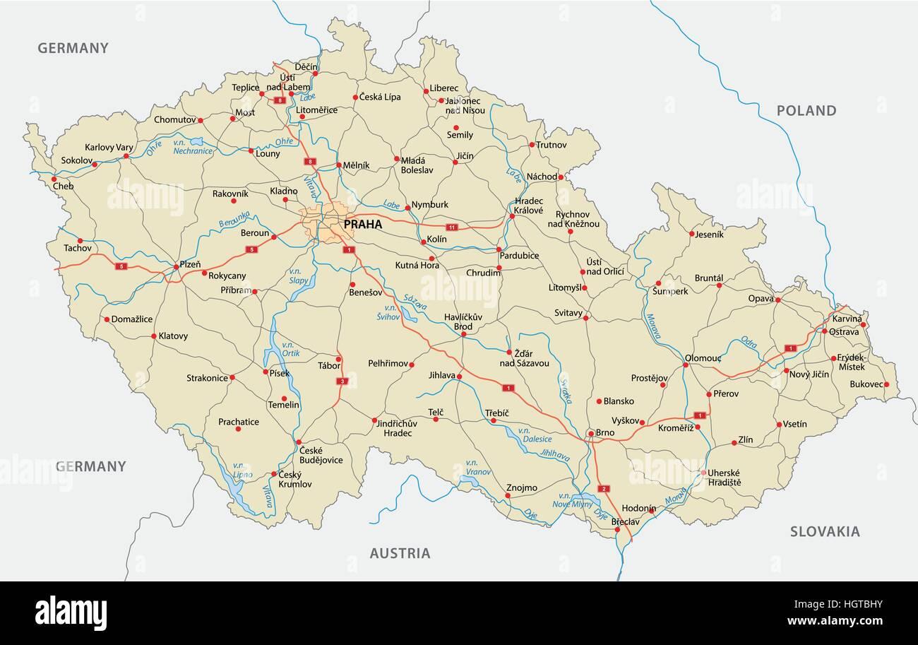 czech republic road map - Stock Vector