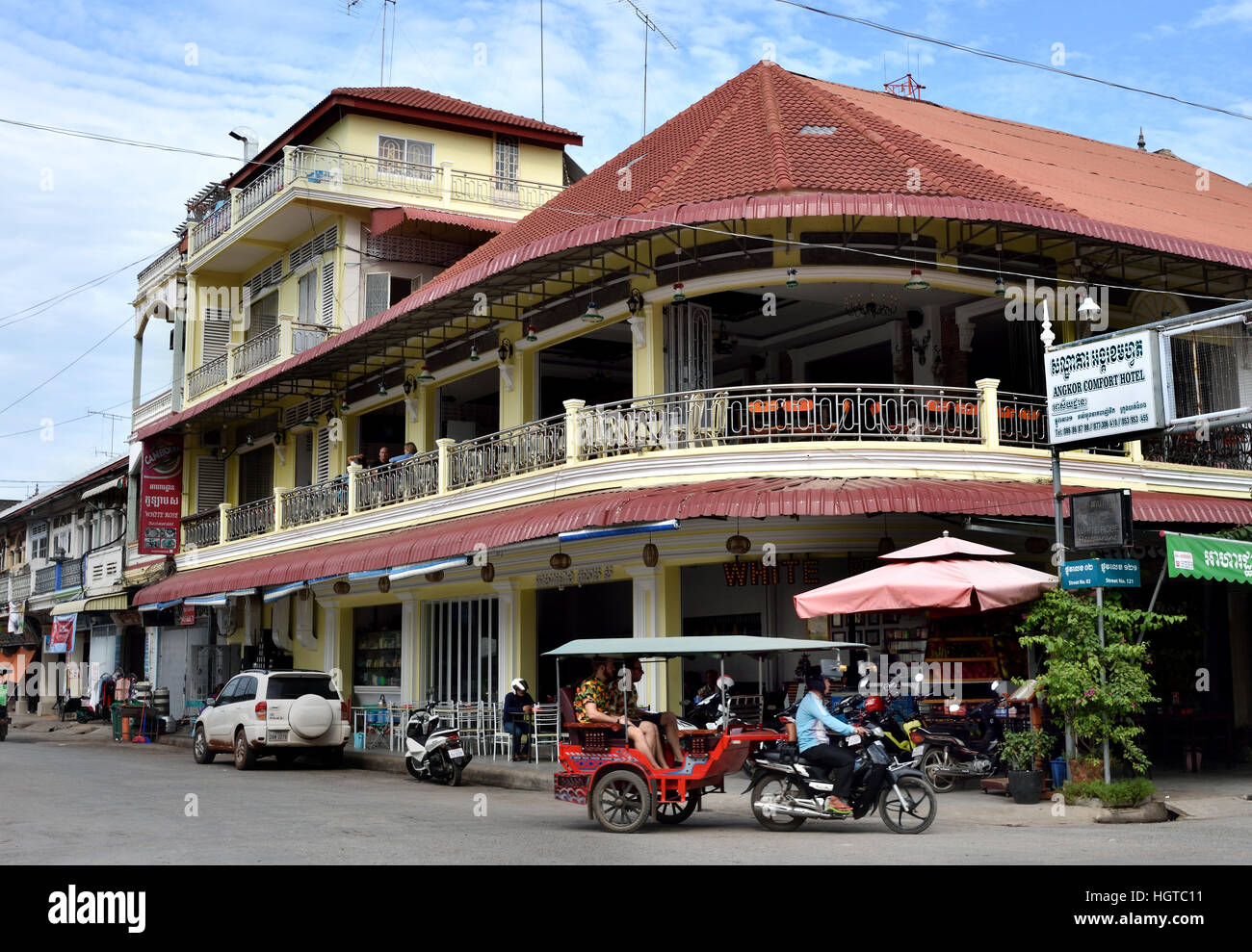 Battambang City Center located on the Sangkhae - Sangker River Cambodia.  (Cambodia's second largest city capital - Stock Image