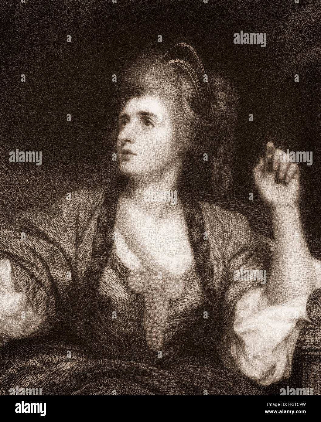 Sarah Siddons, 1755 - 1831, Welsh actress, Portrait von Sarah Siddons, 1755 - 1831, englische Schauspielerin - Stock Image