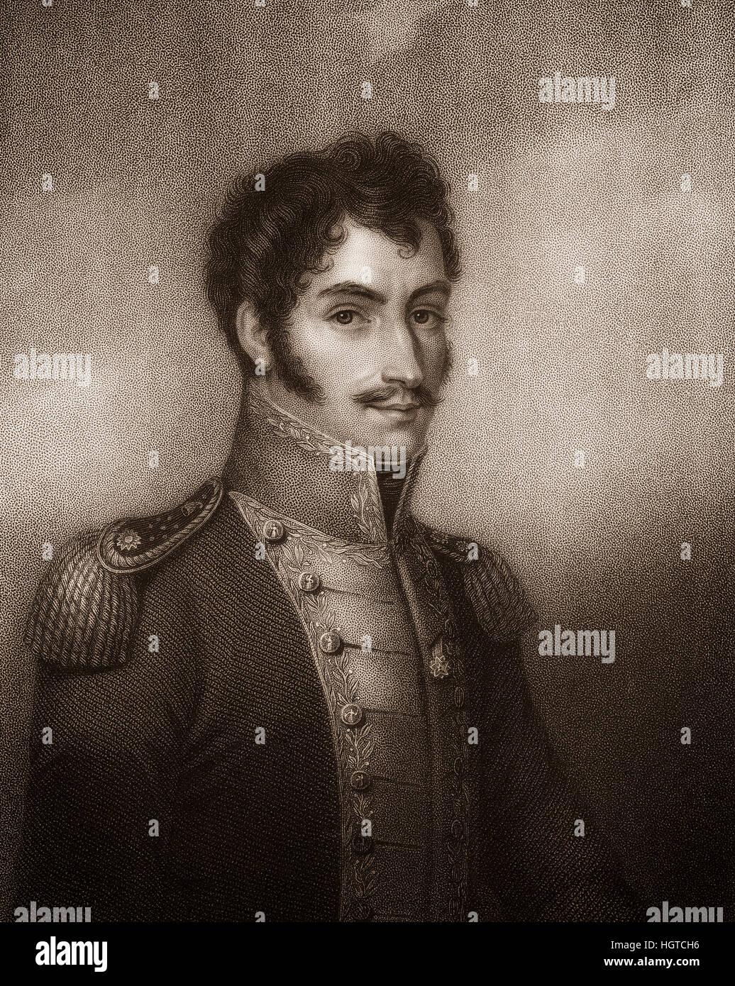 Simón Bolívar or Simón José Antonio de la Santísima Trinidad Bolívar y Palacios Ponte - Stock Image