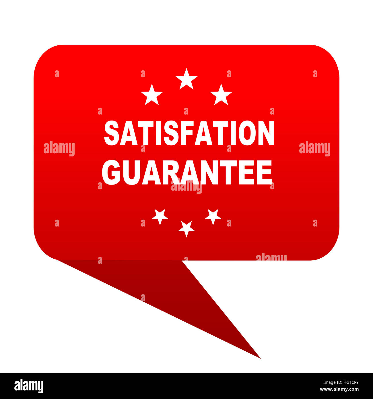 satisfaction guarantee bubble red icon - Stock Image