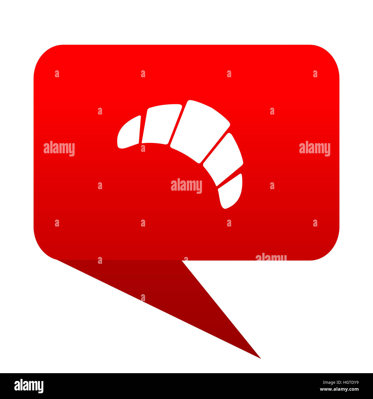 croissant bubble red icon - Stock Image