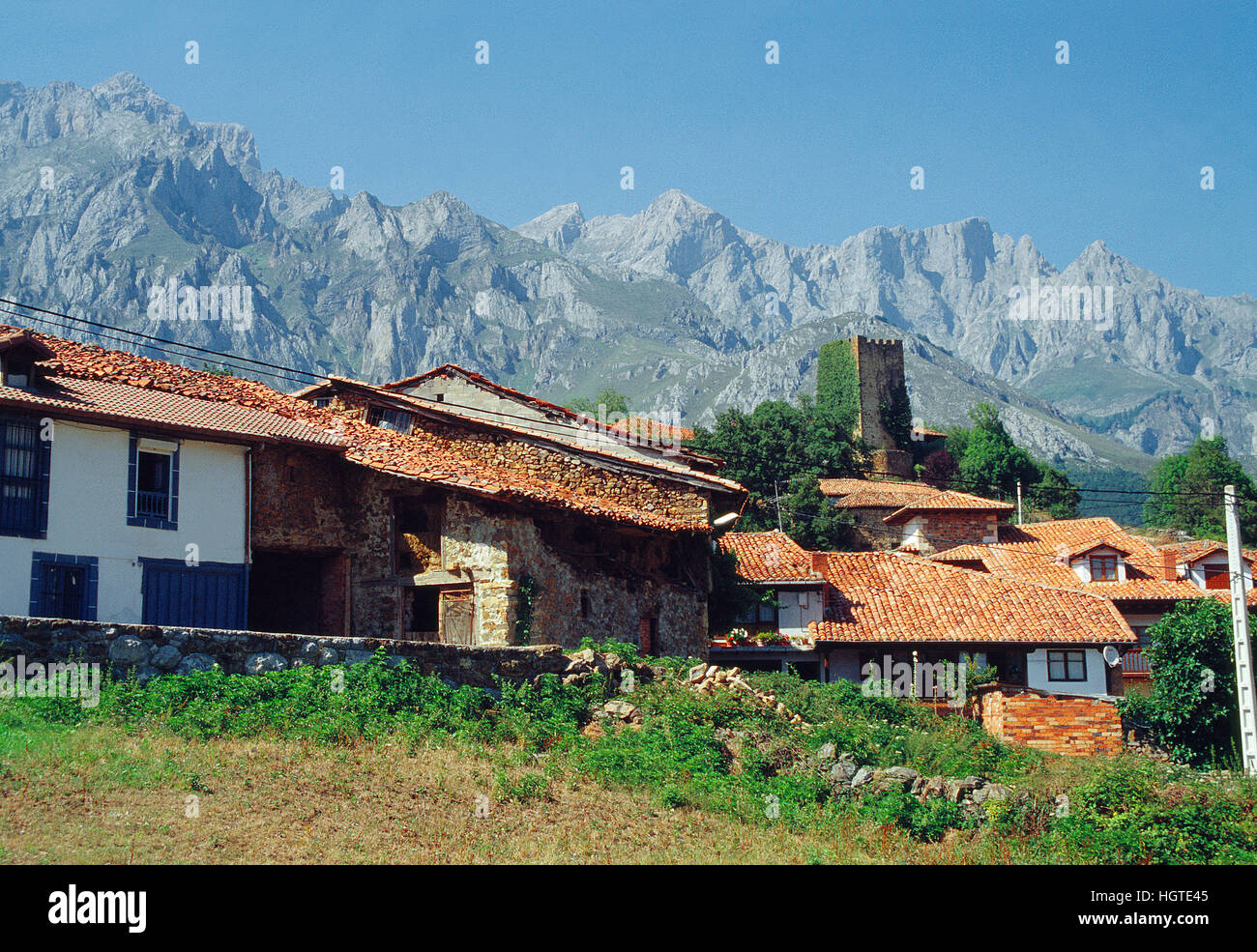 Mogrovejo and PIcos de Europa National Park. Cantabria, Spain. - Stock Image