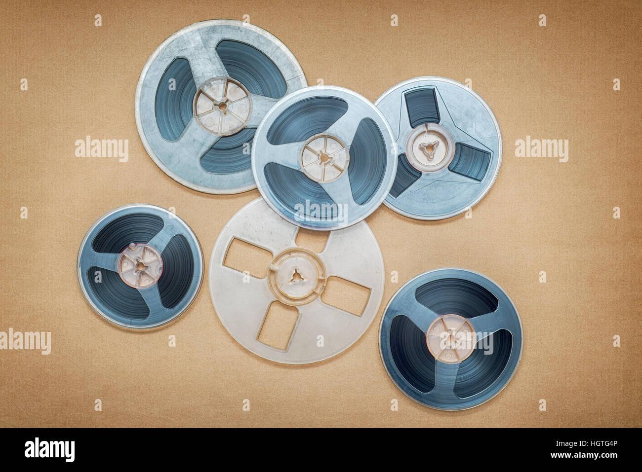 Vintage magnetic audio reels - Stock Image